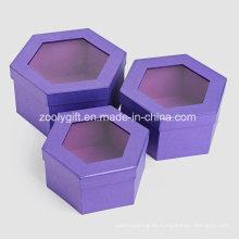 Calidad metálica de color púrpura de papel hexagonal en forma de caja de embalaje de regalo cosmético con ventana