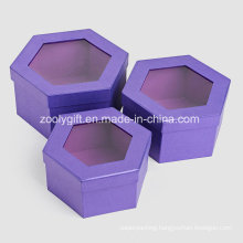 Quality Metallic Purple Color Paper Hexagonal Shaped Cosmetic Gift Packing Box with Window