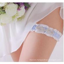 La mejor venta al por mayor del Rhinestone Nueva liga de moda de la boda azul del cordón de la alta calidad de la manera
