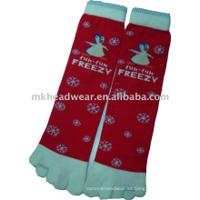Alta calidad jacquard calcetines de cinco dedos de los pies