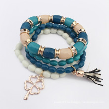 Bohemia estilo multicapa perlas trébol colgante pulsera encanto
