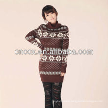 12STC0571 turtleneck snowflake lady sweater