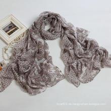Art und Weise Cashew-Drucken-Schal Polyester-Voile-Frauen langer Schal, Brown-Farben-Schal (PP038BL)