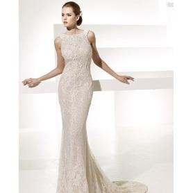 Glamorous Trumpet Mermaid Bateau Neck Chapel Train Lace Front slit Wedding Dress