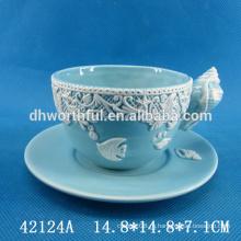 Керамическая чашка с блюдцем из морепродуктов