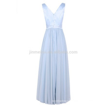 Cheap Evening Dress Long 2016 Free Shipping Real Photos V-neck A-line Bridesmaid Dress for Wedding Formal Party Dresses