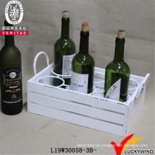 Suporte de vinho Cesta de madeira sólida seis com alça
