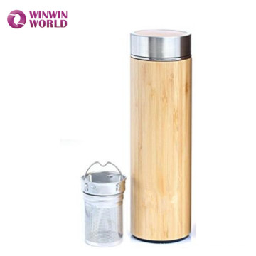 Hot Selling In Amazon Wide Mouth Double Wall Vacuum Insulated Bamboo Cup Mug With Tea Infuser