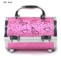 Круглая Алюминиевая Коробка Чехол Красоты Макияж Розовый Коробка Шаблон
