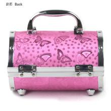 Rodada caixa de alumínio caixa de maquiagem beleza caixa rosa padrão