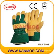 Перчатки работы в технике безопасности на шельфе из желтой натуральной кожи (120031)