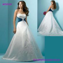 Línea de corazón agraciado Ruffle Org Lace Wedding Dress