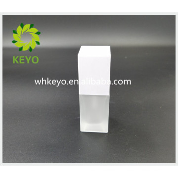 20ml 30ml 45ml Hot sale make up packing white colored empty cosmetic square glass pump bottle