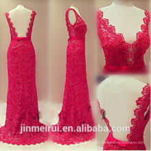 Sexy V-neck Floor Length Open Back Red Lace Evening Dresses Women