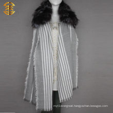 Real Silver Fox Fur Trim Long Knitted Scarf