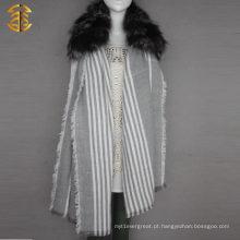 Real Silver Fox Fur Trim Lenço de malha comprida