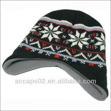 Winter knitted fleece beanie hat pattern