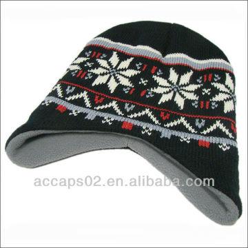 Padrão de chapéu de malha de lã de malha de inverno