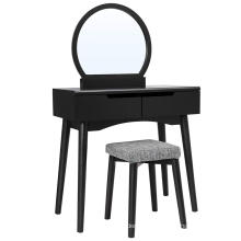 Vanity Table Set with Round Mirror 2 Large Sliding Drawers Makeup Dressing Table with Cushioned Stool, Black