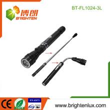 Ningbo fabricante de material de aluminio de mano 3 led de base magnética linterna led telescópica