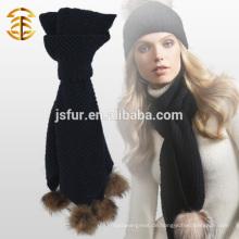 2015 Neue Produkt-Art und Weise kundengebundener warmer Winter-Schal mit Waschbär-Pelz Pom Pom Knit Häkelarbeit-Schal
