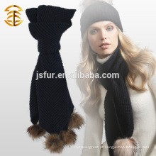 2015 New Product Fashion Customized Warm Winter Scarf com Raccoon Fur Pom Pom Knit Crochet Scarf