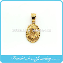 China Profesional fabricante de joyería de acero inoxidable de alta calidad 18 K chapado en oro cristianismo religioso María colgante