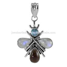 Dernier pendentif en argent sterling Rainbow Moonstone et Multi Gemstone 925