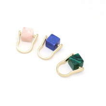 Women Ring Jewelry Initial Design Natural Marble Square Ring Colorful Pink Quartz Rotatable Rings