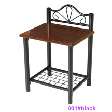 Mesa de cabeceira moderna de madeira preta e mesinha de cabeceira de metal (001 # preto)