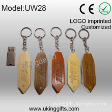 Wooden USB with Keychain/32GB Flash Drive for Customized Logo