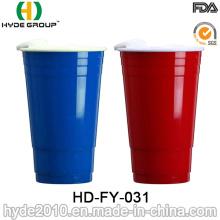 Tasse à double paroi en plastique sans BPA avec couvercle