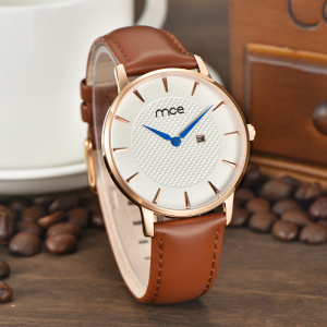 custom made dials leather bands stainless steel case back quartz mens watch