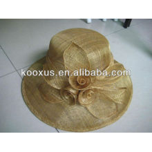 Formal sinamay hat with feather flower