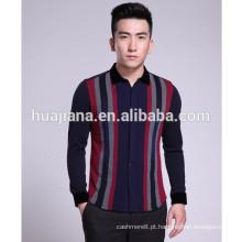 Stoll máquina de tricô camisa de cashmere do homem