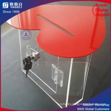 Big Discount Red Heart-Shaped Acrylic Donation Box with Lock