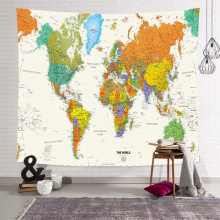 Map Wall Tapestry Detailed World Map Globe Tapestry Wall Hanging for Livingroom Bedroom Dorm Home Decor