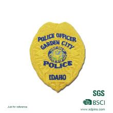 Patch de broderie de police de couleur jaune récemment