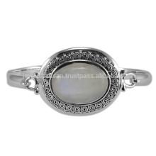 Natürlicher Regenbogen-Mondstein-Edelstein u. 925 Sterlingsilber-Antike-Art-Hochzeits-Armband