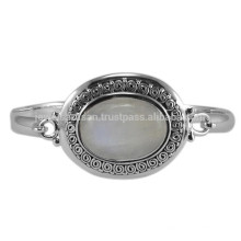 Pierres gemmes naturelles Rainbow Moonstone et 925 Sterling Silver Antique Style Wedding Bangle