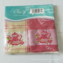 Conjunto de toalha de chá de algodão bordado de bule