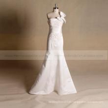 Vestido de novia de satén de moda de la boda Rhinestones brillantes correas desmontables