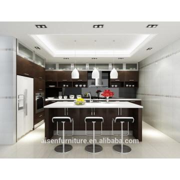 Armário de cozinha de folheado de madeira natural de design italiano moderno