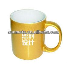 Sunmeta 11 oz sublimação caneca de prata dourada para impressão de imprensa de calor - fabricante