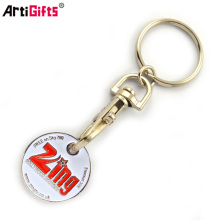 Metal coin keychain shopping cart coin