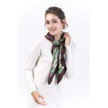 Plantain-100% Seide Digital bedruckt quadratischen Schal