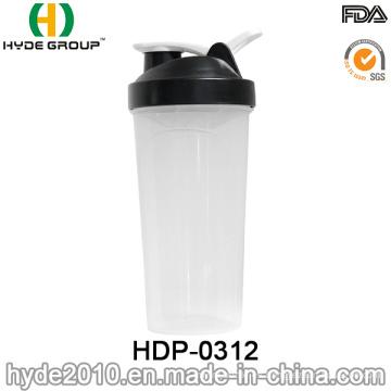 Botella de polvo de proteína de plástico libre de BPA, botella de batido de plástico recién 700ml con bola de Ss (HDP-0312)