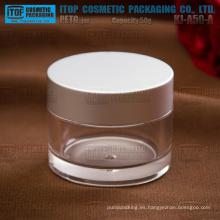 Casquillo de aluminio de 50g de KJ-A50-A material plástico grueso de alta calidad y claro PETG tarro plástico tarro de masón