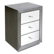 3 Drawer MDF Antique Silver Mirrored Bedside Table