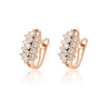97123 xuping роскошная мода розовое золото цвет синтетический циркон проложил женские серьги обруча
